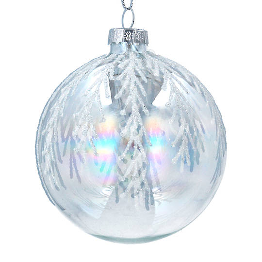 Glass Ball Iridescent, Silver Twigs 8cm