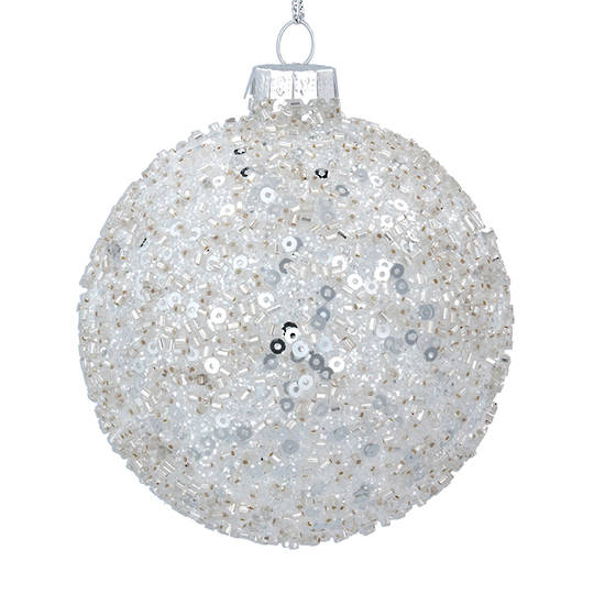 Glass Ball Clear, Silver Sequins 8cm