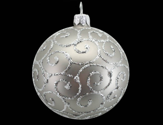Glass Ball Matt Pewter, Silver Spirals 8cm