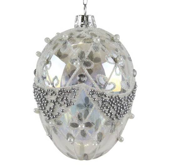 Glass Faberge Egg, Clear with Gold 10cm