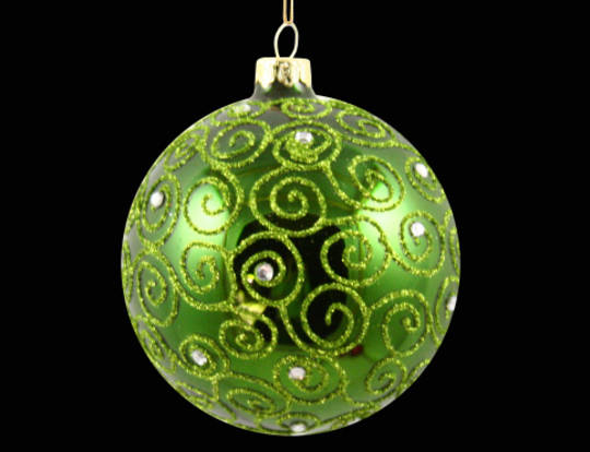 Glass Ball Grass Green, Filigree 8cm