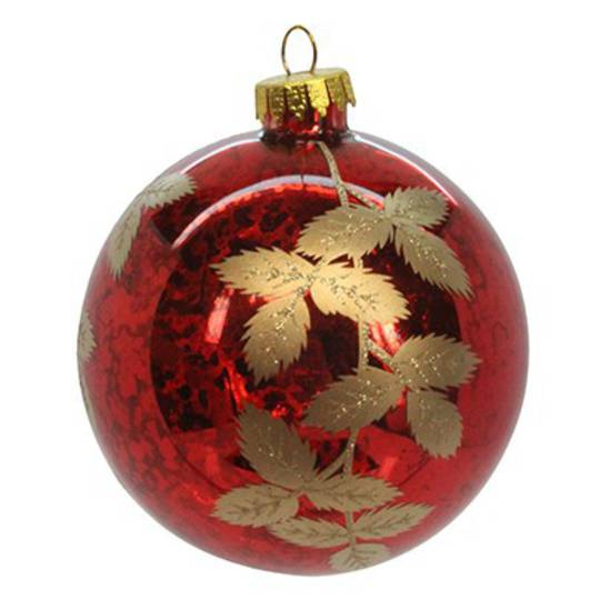 Glass Ball Trans Red, Gold Leaves 8cm