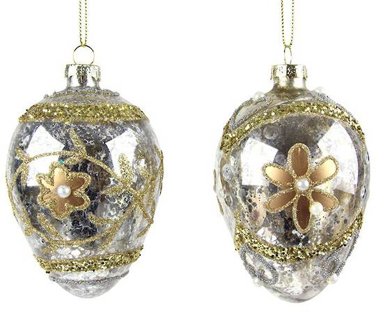 Glass Faberge Egg, Silver, Gold Flower 10cm