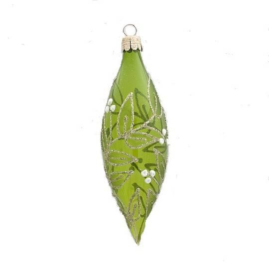 Glass Olive Trans Green, Mistletoe 15x5cm