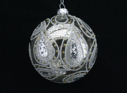 Glass Ball Clear, Antique Silver 8cm