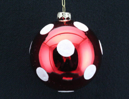 Glass Ball Metallic Red, White Dots 8cm