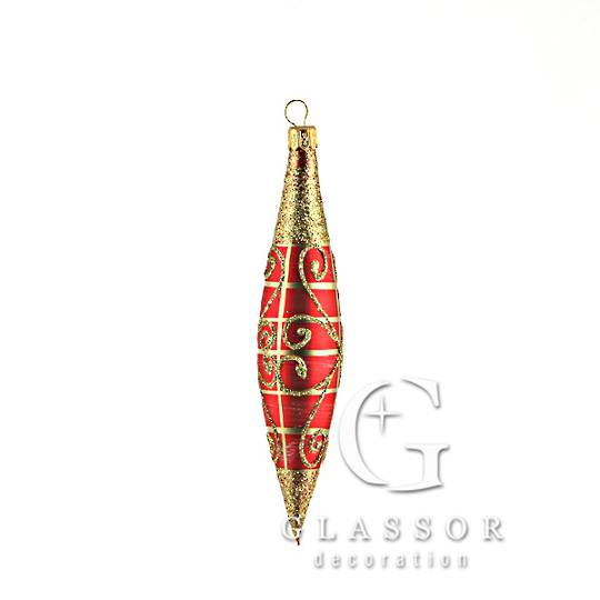 Glass Olive Red, Gold with Gold 14cm