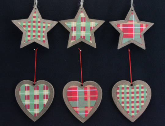 Wooden Shape, Tartan Fabric Decor 10cm