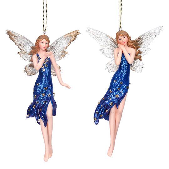 Resin Tall Blue Cobalt Fairy 15cm