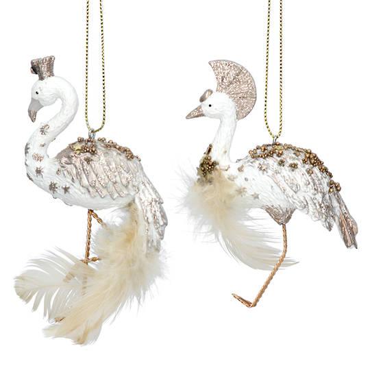 Resin Cream & Gold Starlight Bird 9cm