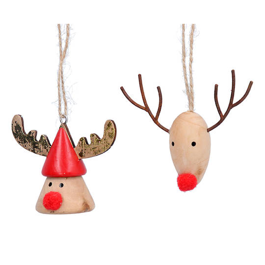 Wood Reindeer Head with Pom Pom Nose 7cm