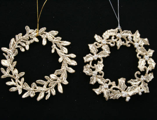 Hanging Wreath Pale Gold Glitter 11cm