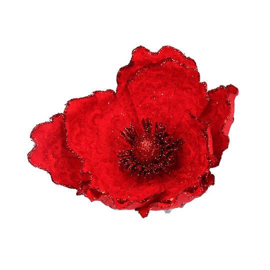 Fabric Red Magnolia Clip 15cm