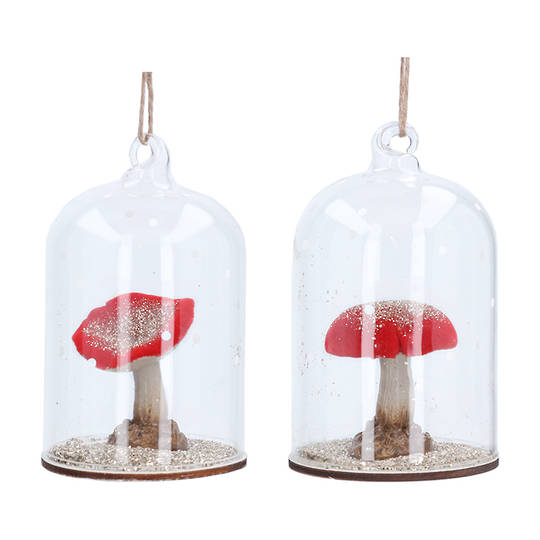 Resin Red Toadstool in Glass Dome 11cm