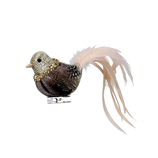 Bird Clip Cream and Natural, Feather Tail 16cm
