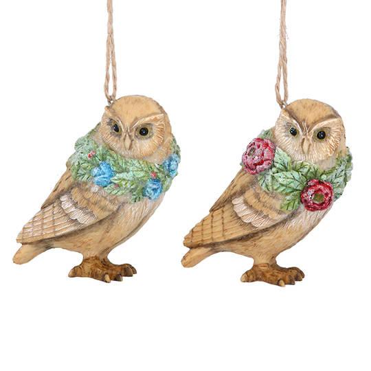 Resin Flower Owl 7cm
