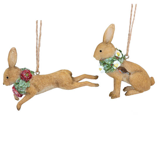 Resin Flower Hare 8cm