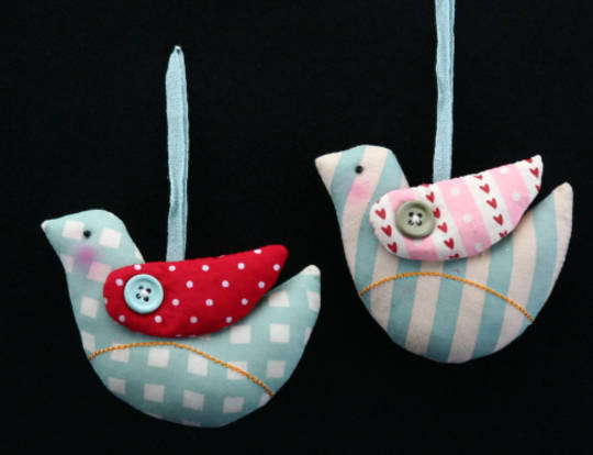 Fabric Button Bird 9cm each