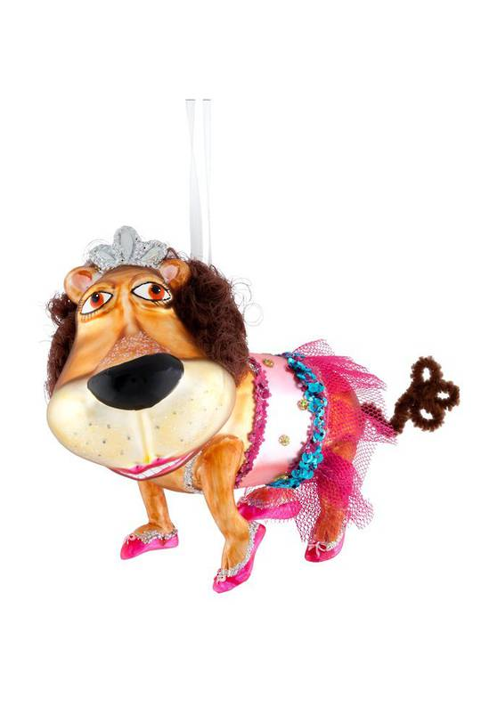 Glass Hanging Lion Ballerina 11cm