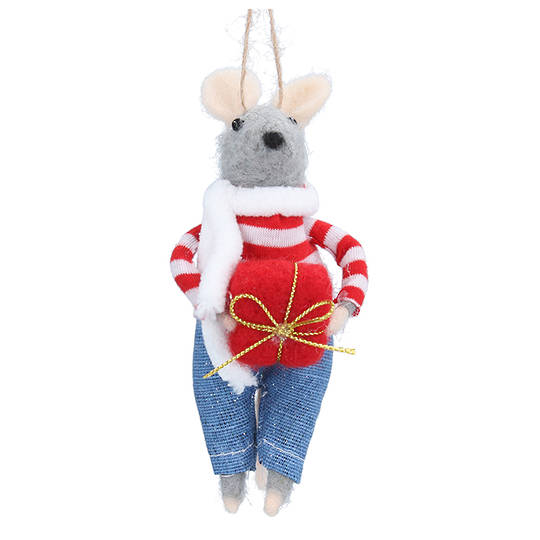 Wool Mouse in Jeans 13cm
