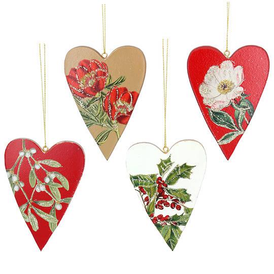 Wood Botanical Heart 10cm