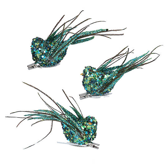 Bird Clip Peacock Sequin and Bead, Feather Tail 12cm