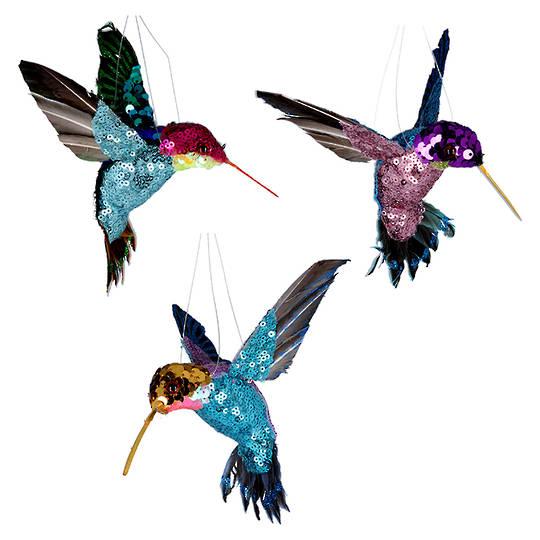 Multi Colour Sequin Humming Bird 15cm