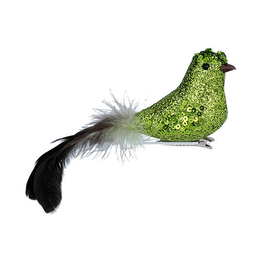 Bird Clip Lime Green Glitter, Feather Tail 15cm