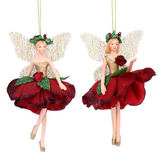 Resin Fabric Red Flower Fairy Small 14cm