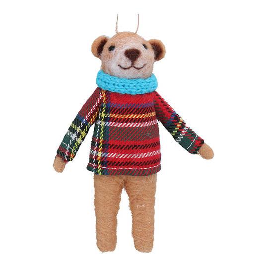 Wool Bear in Tartan Jumper 10cm