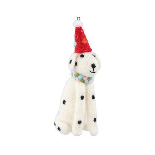Wool Dalmatian with Hat 14cm