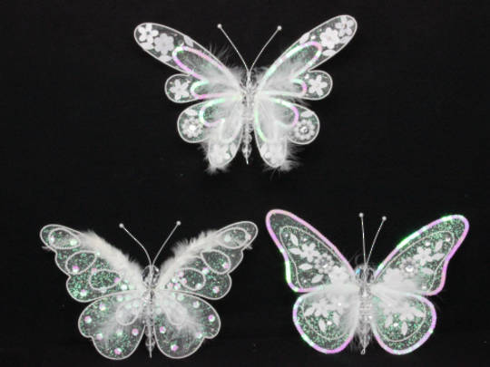 Iridescent Sequin & Feather Butterfly Clip Lge