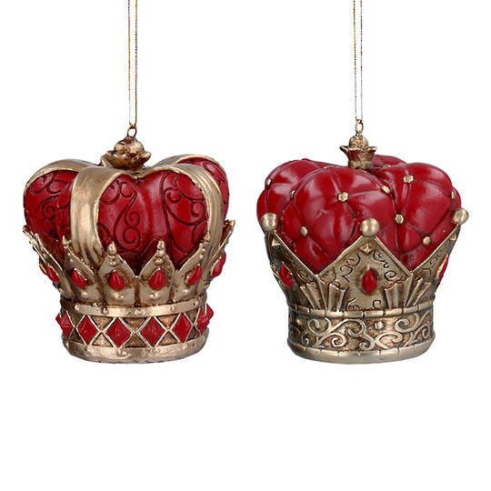 Resin Red and Gold Crown 8cm