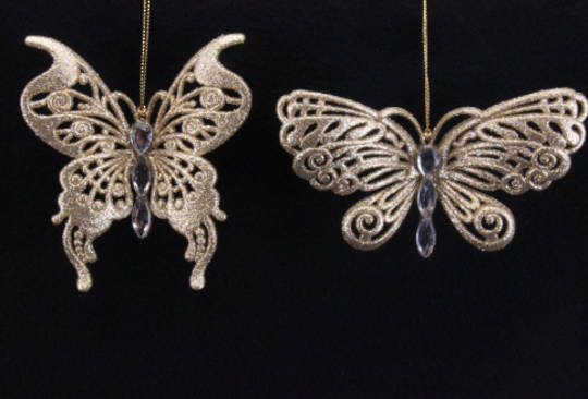 Antique Gold Glitter and Diamante Butterfly Clip