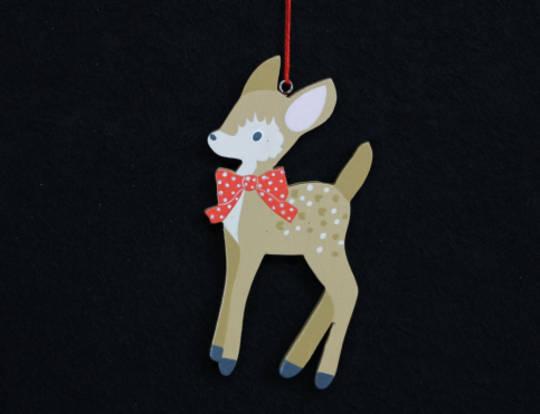 Wood Bambi Deer 12cm