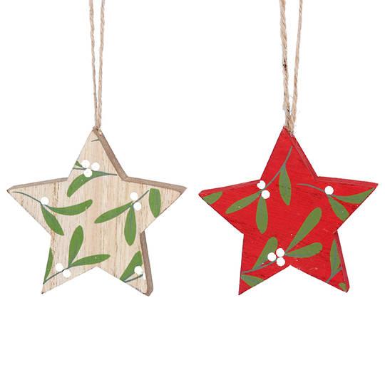 Wood Star with Mistletoe 8cm
