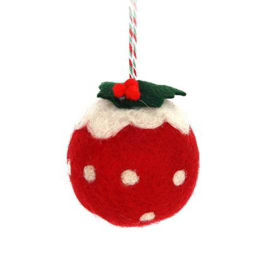 Wool Ball Red Christmas Pudding 6cm