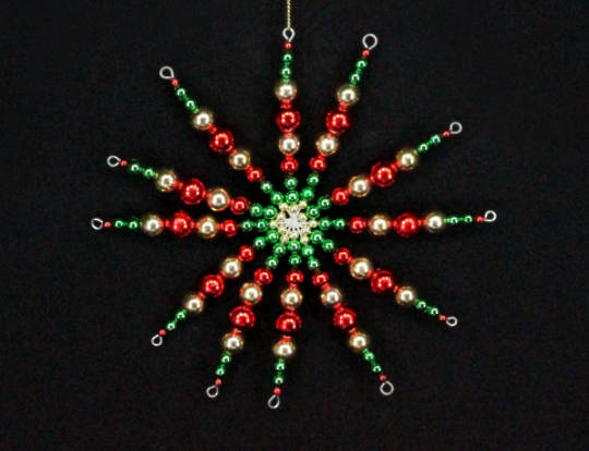 Beaded Starburst Red, Green, Gold 14cm