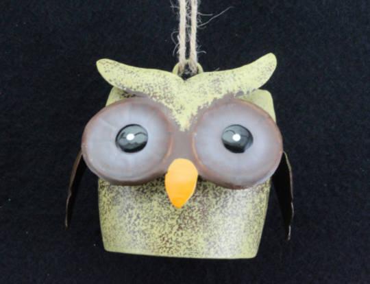 Tin Owl Cow Bell 6cm