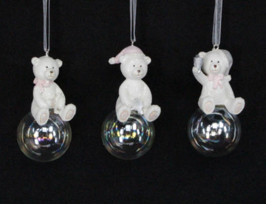 Resin Pastel Teddy on Soap Bubble 6cm