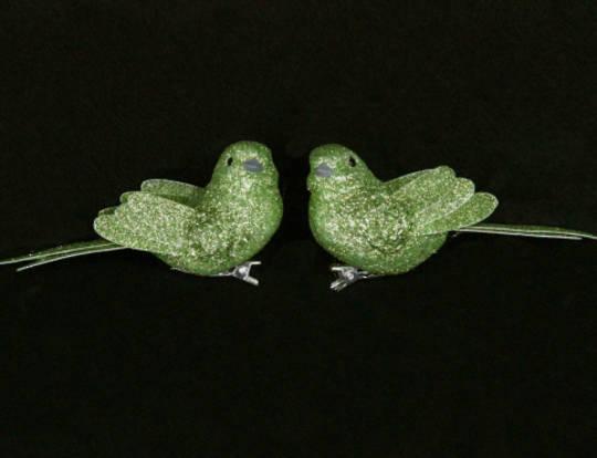 Lime Green Glitter Bird Clip 7cm