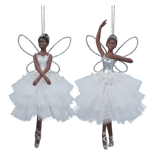 Resin Fabric Tan White Ballerina Fairy 15cm