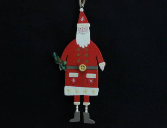 Hanging Wooden Folk Santa 15cm