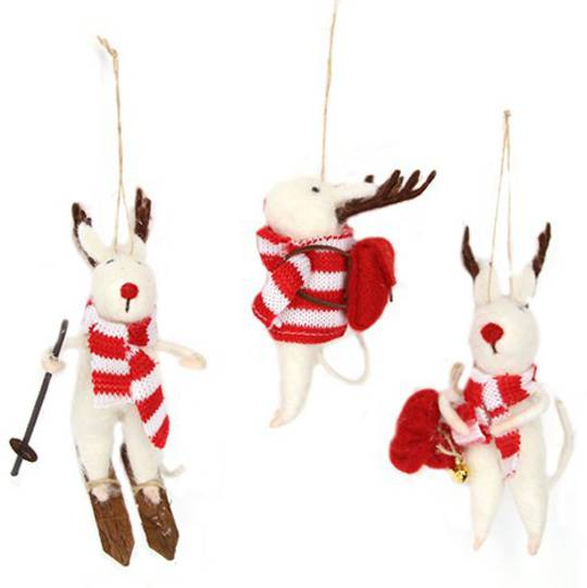 Wool White Mouse with Antlers 14cm