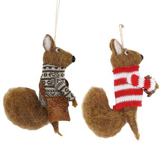 Wool Squirrel with Jumper 12cm