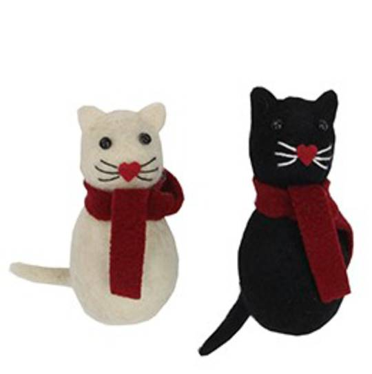 Wool Cat with Scarf 10cm