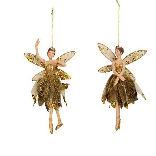 Resin Ballerina Fairy Old Gold Fabric 18cm