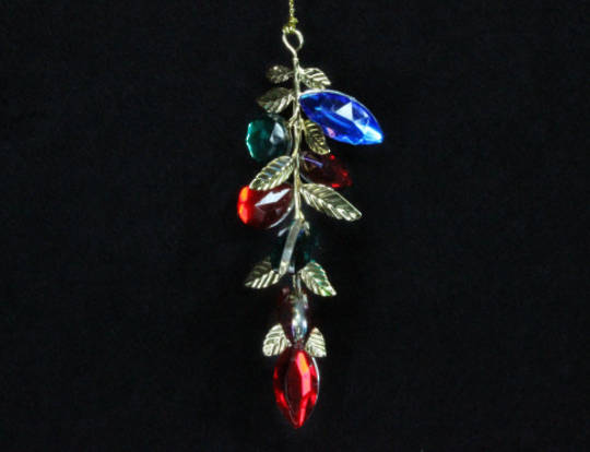 Multi Colour Jewel/Metal Leaf Drop 14cm