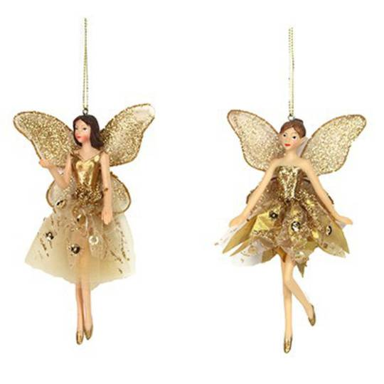 Resin Ballerina Fairy Gold Fabric 14cm