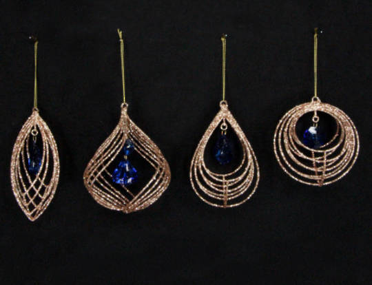 Wire Shape Gold with Blue Jewel 15cm
